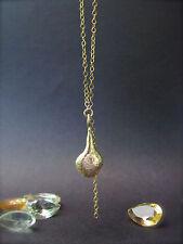 14k Yellow gold necklace,drop shape pendant.Handmade unique necklace