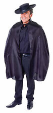 Mens Black Bandit Cape Fancy Dress Costume Zorro Musketeer Outfit Adult New