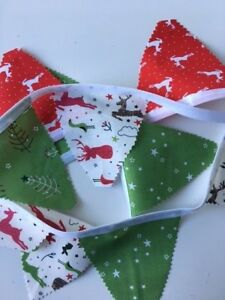 """Christmas Bunting with 5"""" Pennant Flags in Coordinating Christmas Fabric Designs"""