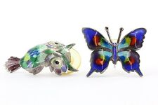 Vintage Taxco Mexico Sterling Silver Enamel Butterfly & Owl Earring Signed