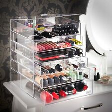 Makeup Organizer Extra Large Clear Acrylic 6 Tier Cosmetics 5 Drawers Removable