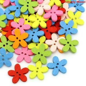 100pcs Wooden Flower Buttons, mix of 7 colours-2 Hole-Sewing-Cardmaking-15mm-UK