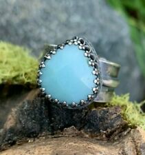 Sterling Silver Amazonite Handcrafted Artisan Ring|Size 8