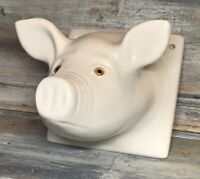 "VTG '80s Ceramic ""Pig Snout"" Farm Bust Apron Towel Kitchen Wall Tile Hook Mount"