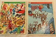Vintage Pair Frame Tray Puzzles Whitman Night Before Christmas Santa's Workshop