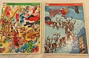 Vintage Pair Frame Tray Puzzles Whitman Night Before Christmas Santa's Workshop