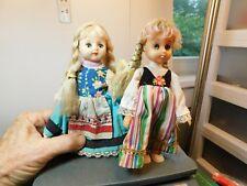 "2-Vintage Blond Braided Long Hair Blue Closing Eyes 7"" Dolls Japan & China"