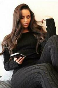 Knitted Lounge Wear Ladies Suit 2 Pcs Set Joggers Tracksuits Top Trouser UK