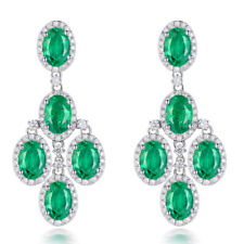 Vintage 18K White Gold Diamonds Oval 4x6mm Emerald Stick Earrings For Women Girl