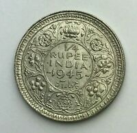 Dated : 1945 - Silver Coin - India - Quarter Rupee - 1/4 Rupee - King George VI