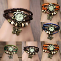 Retro Weave Around Leather Bracelet Watch Fashion Woman Quartz WristWatch Bangle