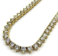 35.00ct Mens Ladies 14k Yellow Gold Round Diamond 3 prong Tennis Chain Necklace