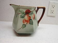 ANTIQUE BAVARIAN PITCHER WITH APPLES AND GOLD TRIM