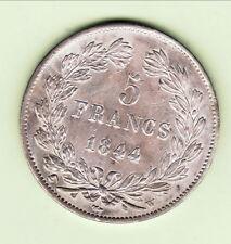 LOUIS PHILIPPE 5 FRANCS 1844 W  qualité  RARE SUP + COTE SUP 250 EURO