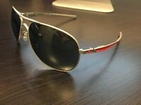 Brand New Oakley Plaintiff Polished Silver/Red Dark Grey Aviator Sunglasses