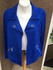 New $149 Chico's Enamel Blue Faux Suede Open Front Jacket Sz 3 = XL 16 / 18 NWT
