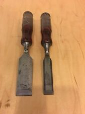 Vintage Set Of Two Buck Bros.Woodworking Bevel Edge Chisels 1'' & 5/8'' USA