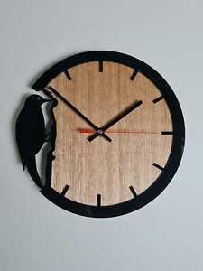 KingFisher Wall Clock Glossy Black on Tasmanian Oak Wood, Decent Style Decor