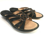 SOFFT black woven leather slip on comfort sandals 8.5 FREE SHIP