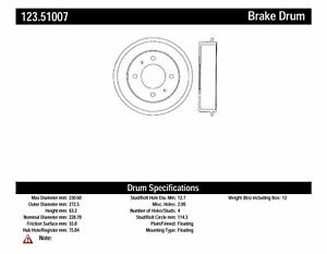 Centric Parts 123.51007 Brake Drum For 99-04 Hyundai Kia Magentis Optima Sonata