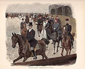Pferdesport, Reitsport - Reiten in der Halle bei Musik - Stich Holzstich um 1895