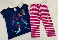 NEW Gymboree Girls Outfit 12-18 months Astronaut Kitty Cat T-shirt Pink Leggings
