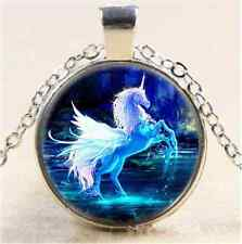 Tibet Silver Chain Pendant Necklace Moonlight Unicorn Photo Cabochon Glass