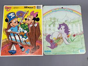 Vintage 1980's Puzzles Disney Baby Micky Pirate Ship & My Little Pony Lot Of 2