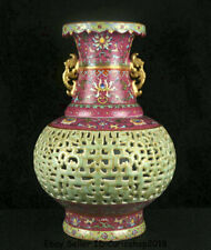 "15"" Qianlong Marked China Colour Enamels Porcelain Flower turn Heart bottle Vase"
