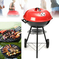 28x17'' Portable Round Kettle Trolley BBQ Grill Charcoal Barbecue Picnic Outdoor