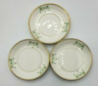 """Lot of 3 vintage butter pats with gold trim and Green pattern 3"""" diameter"""