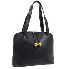 CHANEL Jumbo CC Shoulder Tote Bag Purse Black Caviar Skin Leather Auth RK14490