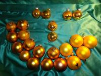 ~ Konvolut 23 alte Christbaumkugeln Glas gold Weihnachtskugeln Christbaumschmuck