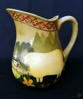 Old Hand Painted Bisque Jug With Stylised Sheep Design | FREE Delivery UK*