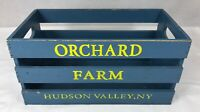 Fruit Crate Orchard Farm Hudson Valley NY Wood Painted Blue 13.75 x 7.5 x 6.75""
