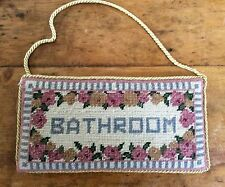 Bathroom Wall Door Hanger Tapestry Hand Sewn Piped Edge Shabby Chic 10x20cm