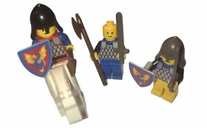 Lego Medieval Figures Set Of 3 With Weapons, Shields & White Horse Vintage