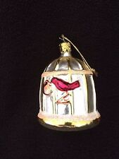 Blown Glass Christmas Ornament Bird Cage  Gold Red MADE GERMANY