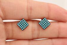 Turkish Jewelry Square Shape Round Turquoise 925 Sterling Silver Stud Earrings