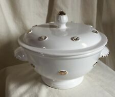 French Malicorne majolica Tureen. White with gold accents.Vintage by Barneys NY.