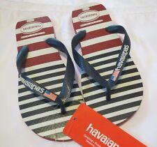 Unisex Brazil HAVAIANAS Flip Flops  Red White Blue Stripes 7/8 W  6/7 M  4140789