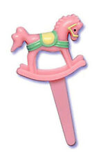 Baby Shower Cupcake Picks PINK ROCKING HORSE Cake Toppers Party Supplies 24