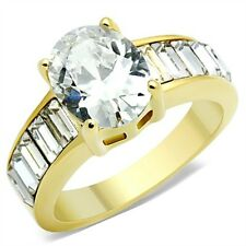 Yellow Gold Plated Solitaire with Accents Oval Costume Rings