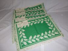 Set of 4 NOS Vtg Fallani Cohn Green White Holly Motif Woven Placemats NEW Cotton