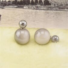 Elegant Jewelry Double Sided Pearl Earrings Ear Stud Big Ball Women Ball Jewelry