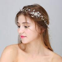 Diamante Bridal Dress Accessories Crystal Wedding Hair Vine Pearls Hair Halo