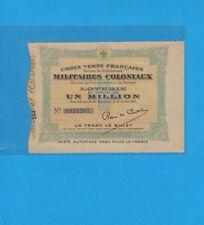 Billet de Loterie Croix verte Française Lot de UN MILLION Billet N° 0023287