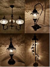 Turkish Moroccan Crackle Glass Table Floor Chandelier Lamp Light Free Bulbs UK