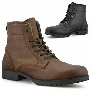 Mens Leather Military Combat Lace Up Walking Work Ankle Biker Boots Shoes Size
