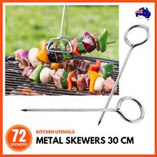 12 X Metal Skewers BBQ Kebab Barbecue Roast Grill Stainless Steel Reusable Ring